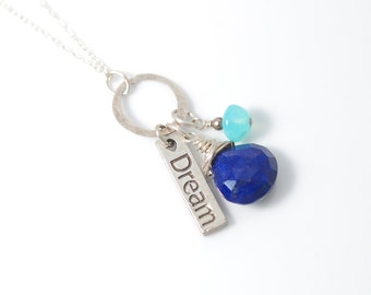 Sterling Silver Lapis Lazuli necklace | Lapis necklace | Silver Dream necklace | Silver Dream Sign necklace | Lapis Lazuli jewelry