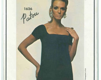 Vintage Vogue 1626 Sewing Pattern, Patou Dress, 1960s Dress Pattern, Empire Waist Dress, Designer, Bust 36, Paris Original
