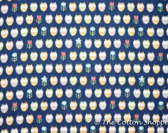Kokka Trefle Kids Owls Fabric Dark Blue ~ Double Gauze Fabric ~ Japanese Fabric ~ Quilting Fabric ~ Home Decor Fabric ~ Apparel Fabric