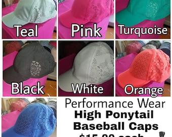 Performance Wear High Ponytail Baseball Caps