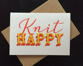 Knit happy greeting card: for knitters