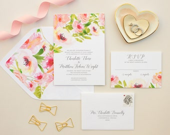 Watercolor Floral Wedding Invitations, Pink Flowers Invitation Suite for Romantic Wedding, Tropical Floral Invitation SAMPLE | Ethereal