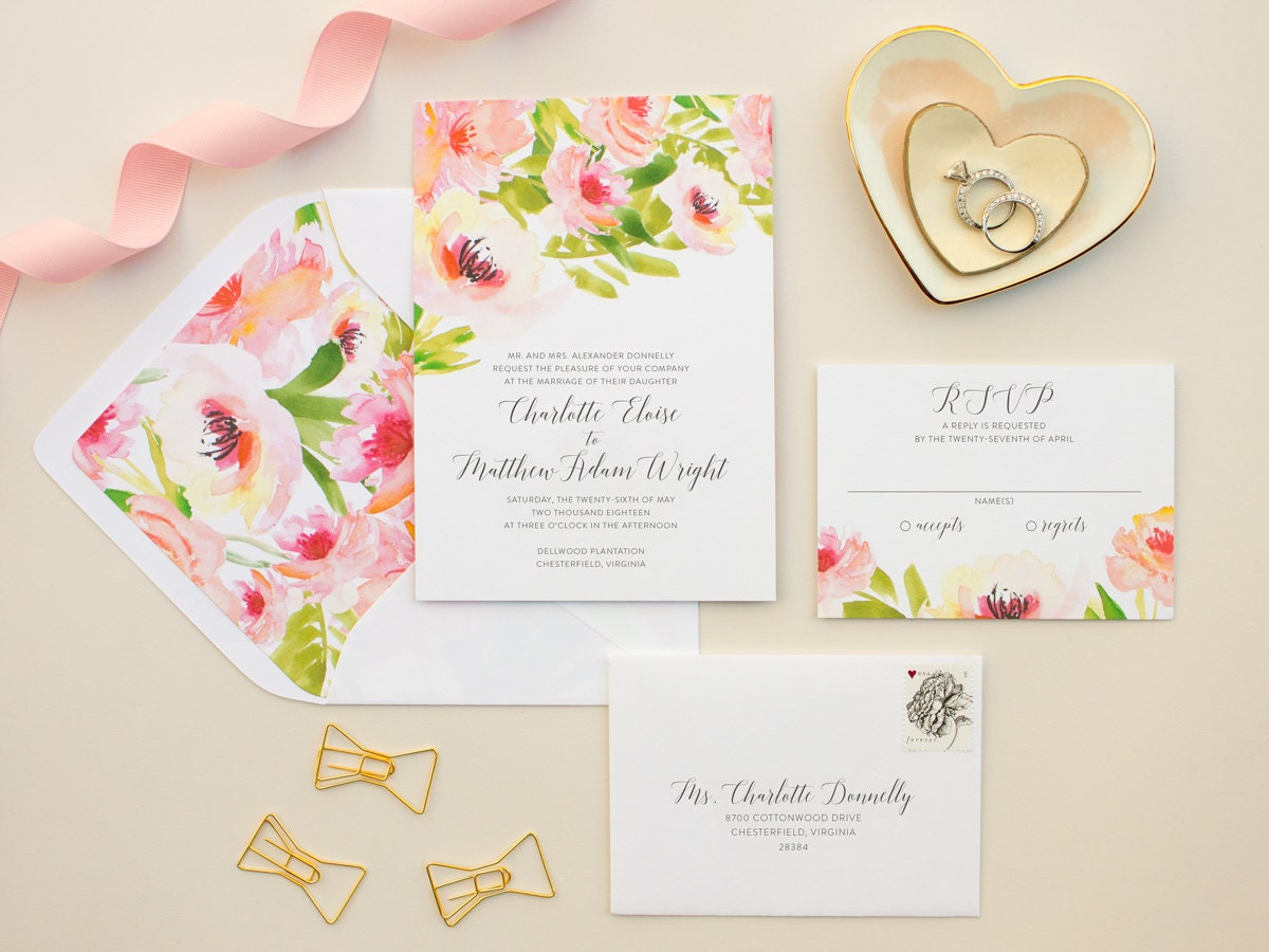 Watercolor Floral Wedding Invitations, Pink Flowers Invitation Suite ...