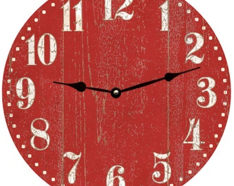 Rustic Red Clock- Barn Red Clock