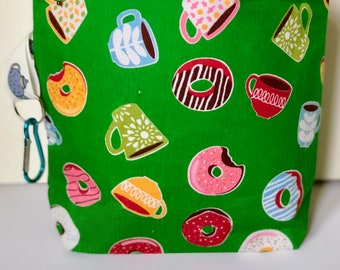 knitting project bag for knitting craft bag for crochet bag donut gifts for knitting - RETRO DONUT