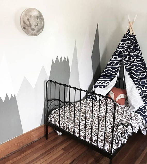 Mountains Wall Decal Nursery Wall Protection Baby Wall Decals Woodland Custom Personalized Washable Headboard Sticker Decor #Mountains002 by Etsy