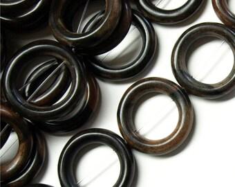 Wood Bead, Donut 28mm, Tiger Ebony - Three 16 Inch Strands (WDDO-28TE)