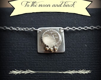 Moonstone Necklace, Man in The Moon Jewelry, Face Carved Moonstone Cabochon, Moon Face Jewelry, Moon Jewelry Sterling Silver