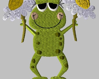 Machine Embroidery Design-Primsy Frog-07 includes 3 sizes!