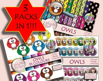 "Owls Digital Scrapbooking Kit ~ ""OWLS"" ~ BUMPER PACK ~  Owl digital paper ~ Owl digital brads ~ Owl Clip Art ~ Rainbow Paper ~ Design #119"