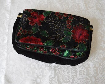 Velvet Garden Purse ~ Vintage 1980's velvet floral purse