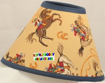Western Cowgirls Horse Riding Fabric Lamp Shade