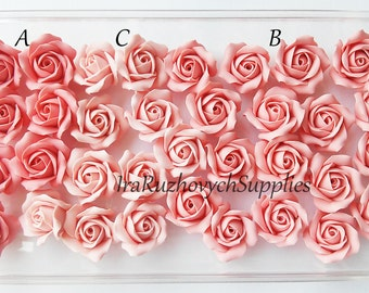 10 pcs. coral pink roses, polymer clay flower bead