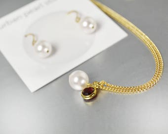 Single Pearl Pendant on Gold Chain Bridesmaids Gift Sets Cranberry Red Drop Necklace Earrings Swarovski Pearls