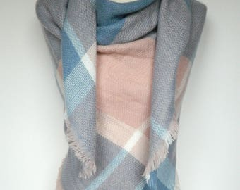 Soft Pink/Mint Plaid Scarf, Winter Scarf, Plaid Scarf, Large Triangle Plaid Scarf, Plaid Shawl, Blanket Scarf, Women's Scarf, Ladies Gifts