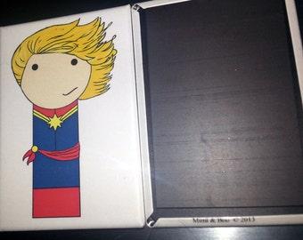 Captain Marvel / Ms Marvel kokeshi peg doll refrigerator magnet