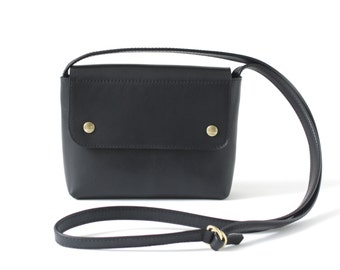 Crossbody Purse Genuine Leather Black, small satchel bag, crossbody bag