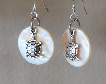 Beach Theme Cream Mother of Pearl Circle w/ Silver Plated Alloy Turtle Dangle Earrings