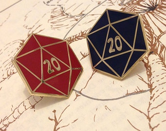 D20 Enamel Pin; Limited Edition Gold