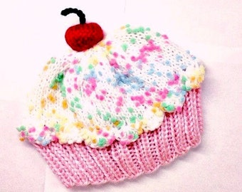 Cupcake Hat with Cherry on Top Cake Cotton Pink Cake Marshmallow Cream Sprinkle Frosting - baby toddler children adult 3 6 9 12 18 months