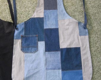 Denim patchwork Apron, Striped