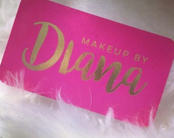 Silk business cards etsy gold foil business cards with silk laminate makeup artist lipstick lips pink colourmoves