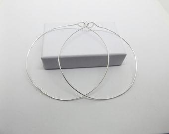 2 1/2 inch Sterling Silver Wire Hoop Earrings