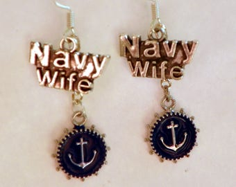 Navy Wife Earrings Navy jewelry military jewelry miltary earrings Navy earrings womans earrings womens earrings anchor earrings anchor jewel