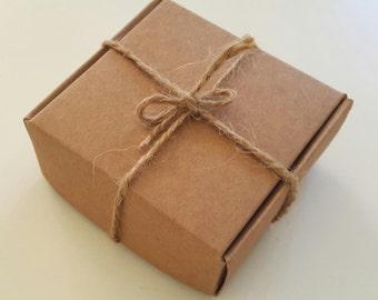 10 BROWN Kraft boxes 6.5 x 6.5 x 2.6cm