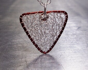 Mixed Metal Triangle Necklace, Sterling Silver and Copper Wire Crochet Pendant
