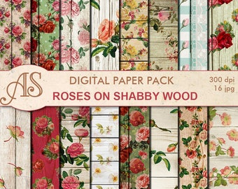Digital Shabby Roses on Wood Paper Pack, 16 printable Digital Scrapbooking papers, retro roses Digital Collage, Instant Download, set 269