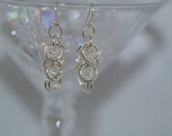 Hand Created Chainmaille Argentium Silver Earrings