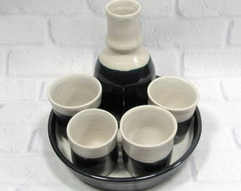 Whiskey Cups Set - Sake Set - Espresso Cups - Whiskey cups bottle and tray - Sake Bottle and cups - Barware set