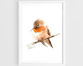 "Original painting, rufous hummingbird, 5""x7""(13x19cm),home decor"