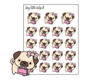 Planner Stickers Pug Shopping