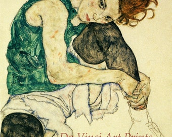 The Art of Egon Schiele.  Woman Sitting with Leg Drawn Up, 1917. Fine Art Print