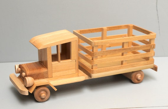 Wooden Toy Cars And Trucks : Wood farm truck eco friendly wooden toy car for kids organic