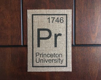 Princeton University Element on Burlap, 5in x 7in (Unframed)