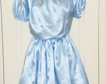 Silky baby blue satin sissy dress, buttery soft with wide flowing skirt Sissy Lingerie