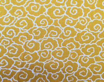 Clouds in yellow and white Japanese cotton quilting fabric