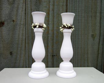 Taper Candle Holders, Cottage Chic, Pale Pink, Cream Pip Berries, Candle Sticks, Pair, Set of Two, Shabby Decor, Painted Wood, Home Decor
