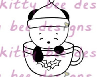 Coffee or Tea Cup Panda Digital Stamp