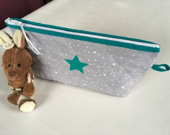 """Baby, quilted, grey fabric toilet Kit powder embroidery Green Star """"greenery""""."""