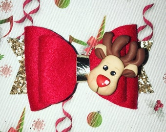 Reindeer Christmas Hair Bow