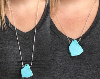 Turquoise Slab Drop Necklace