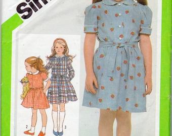 1980s Girls Peter Pan Collar Dress Pattern - Size 6 - Simplicity 9988