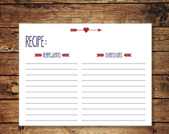 Recipe Card Instant Download Wedding Shower Recipe Card in Red and Blue with cute heart and arrow accent DIY Printable Digital File KOURTNEY