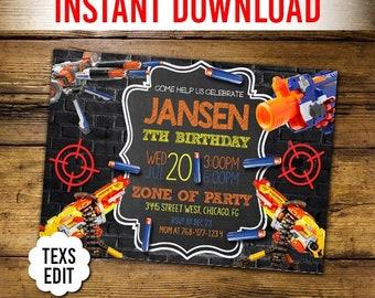 Dart Invitation, Dart Gun War Party Invite, Gun War Invitation, Dart Gun Digital Invitation, Dart War Birthday Invitation, Dart Battle, PDF