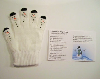 Snowman hand puppet counting activity dramatic play