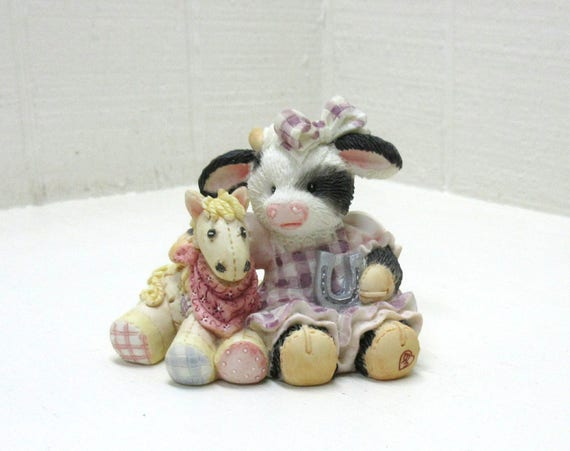 Vintage Mary's Moo Moos Figurine 1993 I'm Lucky To Know You #627755